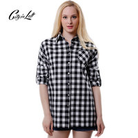 2016 Women Black& White Plaid Shirt Blouses Long Sleeve Turn Down Collar Single Causal Slim Boyfriend Flannel Pocket Shirt 429
