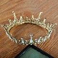 Accesorios Para el Cabello de la vendimia Barroca Grande Rey Reina de Baile Hombres Coronas Tiaras Completo Redondo del Círculo Cristalino Nupcial De La Boda Tiara de La Corona