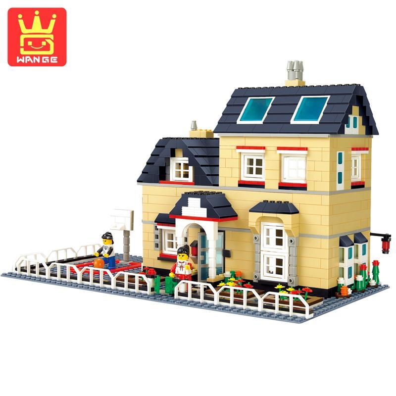 WANGE Cottage Villa Series Blocks Set Model Teaching Building Bricks Kits Educational Toys 2017 Classic Children Birthday Gifts