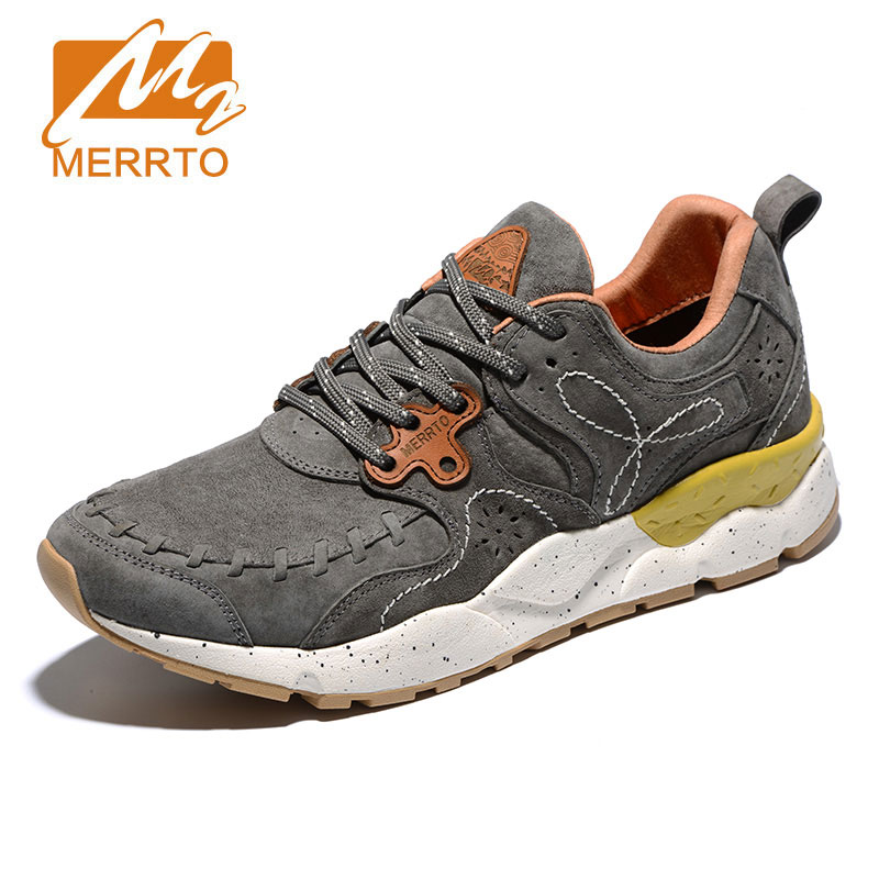 MERRTO Unisex Retro Running Shoes Breathable Leather Men Athletic Shoes Super Light Outdoor Sport Walking Shoes Jogging Shoes faux leather insert breathable athletic shoes