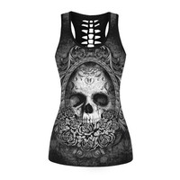 2017 Summer Female Vest New Skull Sexy Digital Printing Slim Was Thin And Wild Tank Tops