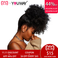 Monglian 3B 3C Clip Ins Ponytail For Women Natural Black Curly Clip in Human Hair Extensions You May Remy Hair