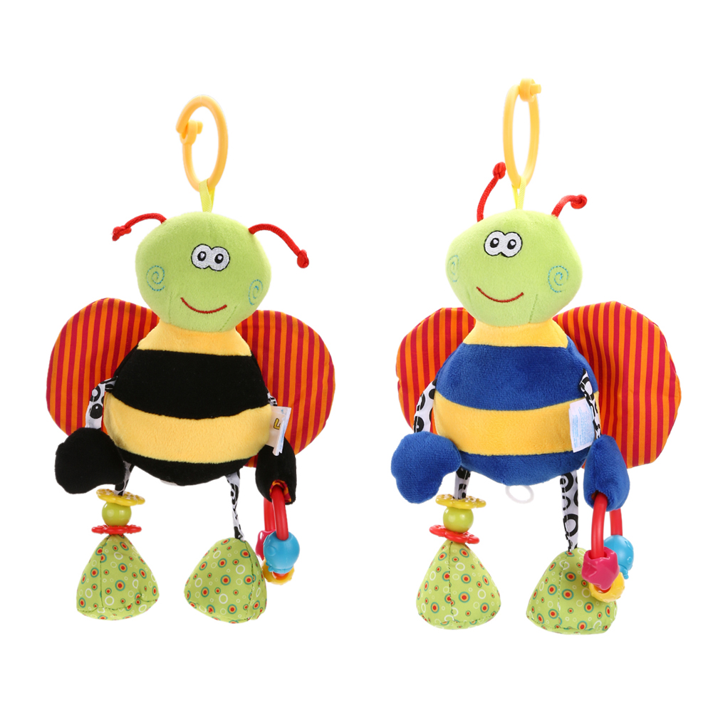 Cute Animal Bee Plush Doll with Non-toxic Teether Baby Rattle Toys Baby Kids Soft Bed Hanging Toy