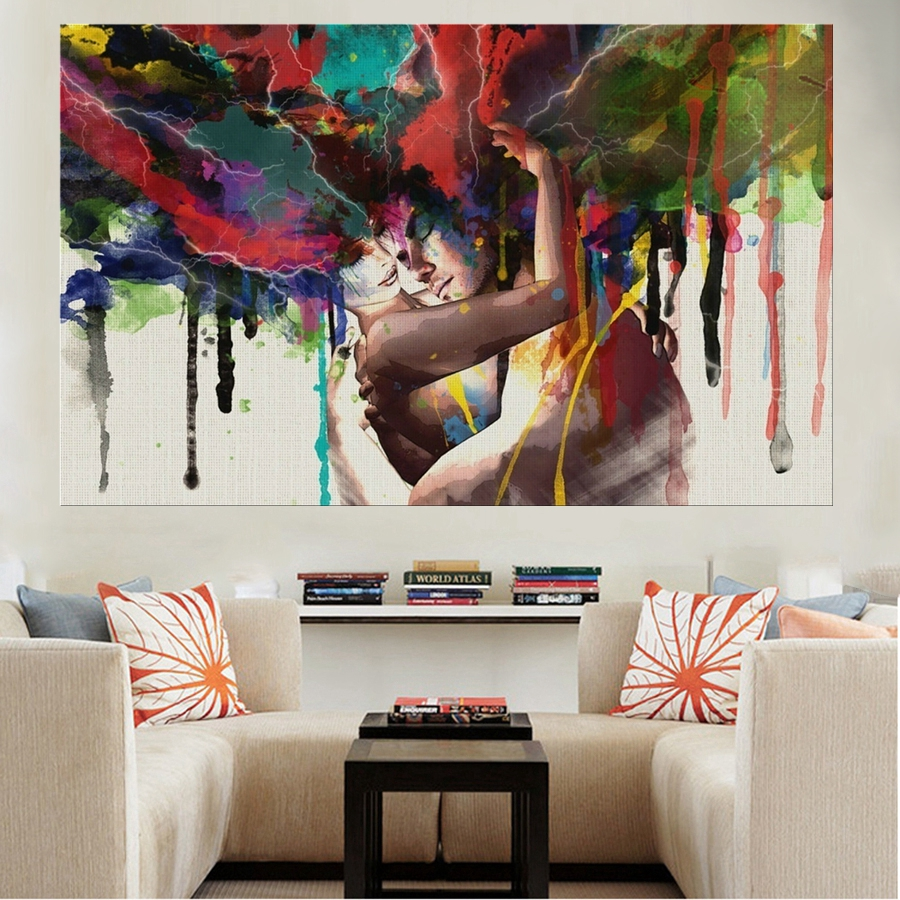 Abstract Lover Canvas Print Love Wedding Hugging Couple Portrait Painting