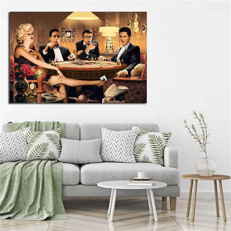 Art print POSTER Canvas Marilyn Monroe James Dean Elvis Presley Playing Poker