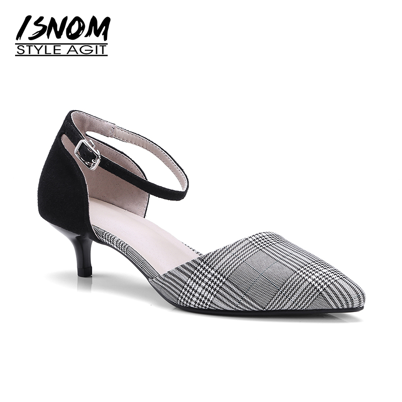 ISNOM 2018 Summer Thin Heels Sandals Women Kid Suede Plaid Pointed Toe Footwear New Ankle Strap Office Ladies Shoes Big Size isnom 2018 summer sandals for women heel