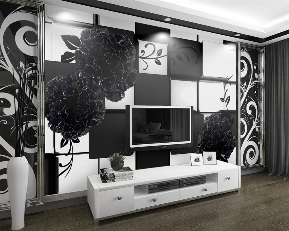 Beibehang Foto Kustom Wallpaper Hitam dan Putih 3D Stereo Relief Bunga Wallpaper Dinding Ruang Tamu Sofa