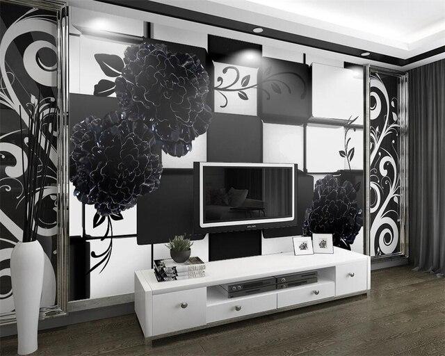 Beibehang Individuelle Fototapeten Schwarz und Weiß 3D Stereo Relief ...