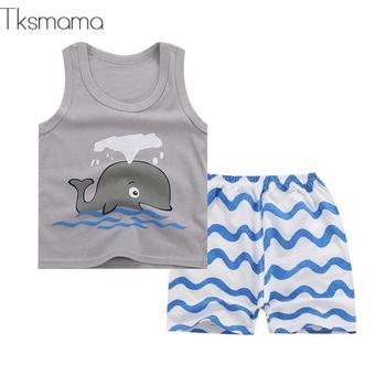 Brand Summer Unisex Newborn Clothes Baby Boy Summer Set Tee Shirts + Shorts Cartoon Clothing Suit 1