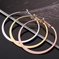 Round Shape Creole Big Hoop Earrings Trendy Style Gold Plated 3 Color European Jewelry Accessories For Women Gift Bijoux