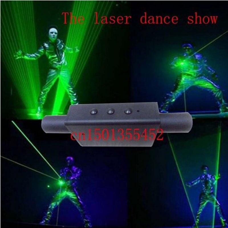 Işıklar ve Aydınlatma'ten Sahne Aydınlatması Efekti'de YENI çift kafa yeşil lazer işaretçi yeşil lazer kılıç dj parti kulübü için lazer gösterisi ışık geniş ışın laserThe 200 MW 8mm kiriş title=