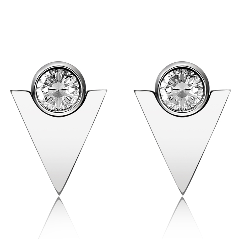 Hot Sale Fashion triangl Shape And Round Crystal Woman Stud Earrings Stainless Steel Women Jewelry Gift Love Earring