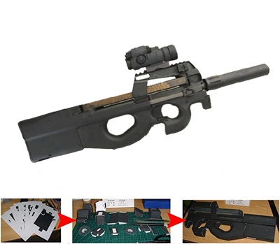 kresba p90 - Paper Model Gun Modern fn p90 Submachine Gun 1:1  3D Puzzle DIY  Educational Toy