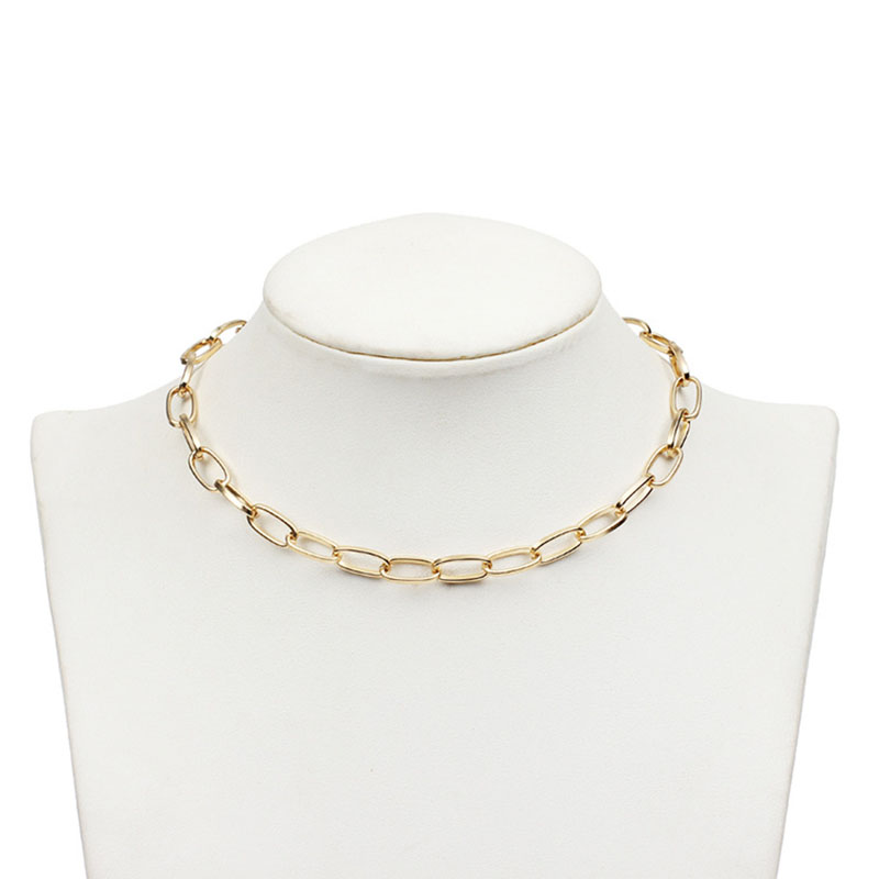 Fashion Gold Silver Statement Necklace Metal Link Chains Vintage Short Choker Necklaces for Women Gothic Chunky Neck Collar G34 in Choker Necklaces from Jewelry Accessories