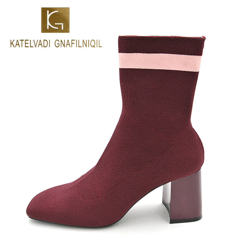 New Women Ankle Boots Red Wine Stretch Fabric Fashion Stripe Short Socks Boots Woman 7CM Square Heels Snow Boots For Women K-066 brand women autumn winter boots 8 5 cm square heels fashion stretch fabric socks boots woman pointed toe boots for women k 067