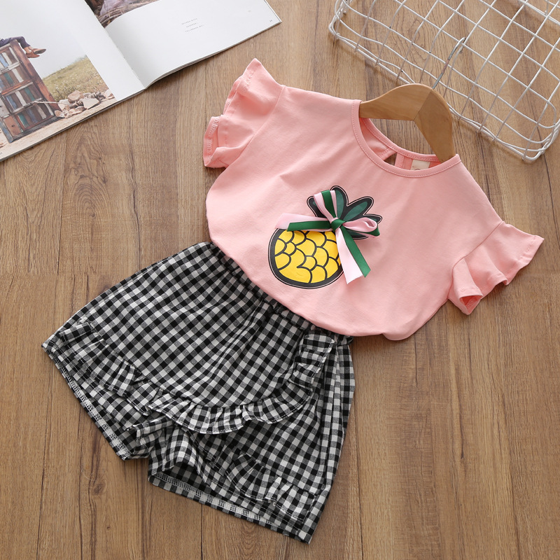 2018 Girl Clothing Set Baby Summer Cotton Bowknot T-shirt Tops + Plaid Dress Skirt Pants Outfits Children Clothing Set CC898 2pcs children outfit clothes kids baby girl off shoulder cotton ruffled sleeve tops striped t shirt blue denim jeans sunsuit set