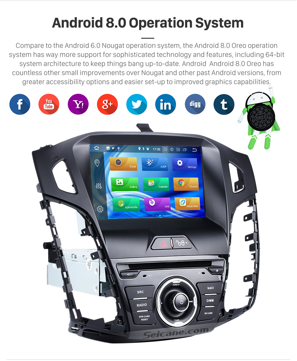 US $363 74 25% OFF|Seicane Android 8 0 8inch Car Radio Stereo 8 Core GPS  Navigation System 1Din Multimedia Player For 2011 2012 2013 Ford focus-in  Car