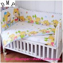 Promotion! 6PCS Cotton Baby Cot Bedding Set Newborn Cartoon Crib Bedding  (bumpers+sheet+pillow cover)