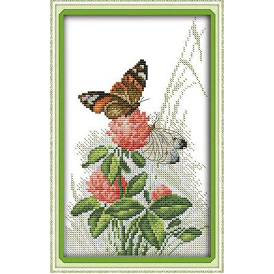 Radostní neděle ve vodě rozpustné plátno, křížový steh, sada výšivek vyšívání sady motýlů a květin tištěné sady křížových stehů 11Ct