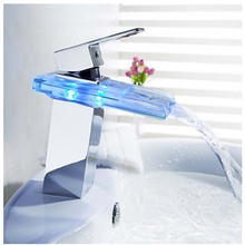 Free Shipping Wholesale And Retail Polished Chrome LED Waterfall Spout Bathroom Basin Faucet Modern Square Sink Mixer Tap