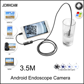 JCWHCAM HD 720P 2MP Android OTG USB Endoscope Camera 8mm 3.5M Flexible Snake USB Pipe Inspection Borescope Android USB Camera fuers 5 5m 7mm lens usb endoscope camera waterproof flexible wire snake tube inspection borescope for otg compatible android pc
