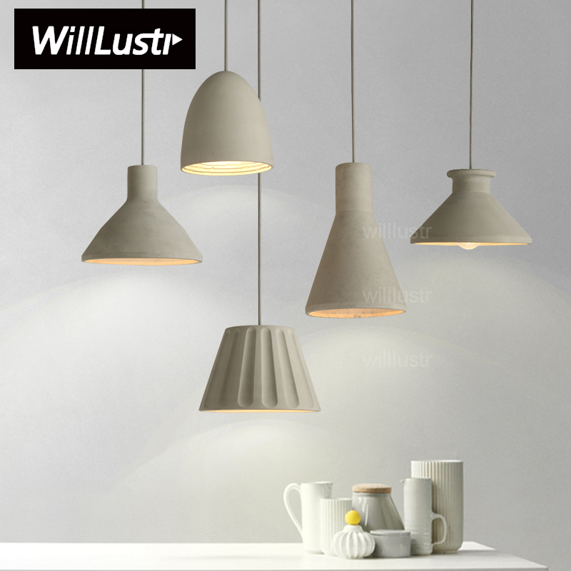 Willlustr cement pendant Lamp concrete hanging light modern suspension lighting dinning room kitchen island hotel restaurant bar купить