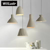 Willlustr Cement Pendant Lamp Concrete Hanging Light Modern Suspension Lighting Dinning Room Kitchen Island Hotel Restaurant