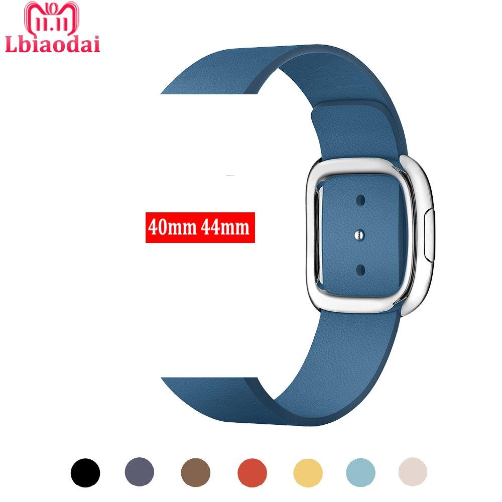 Moderno cinturino In Pelle con fibbia per Apple Orologio 4 Band 42mm 38mm 44mm 40mm iwatch serie 3 2 1 correa cinturino del braccialetto della cinghia del polso