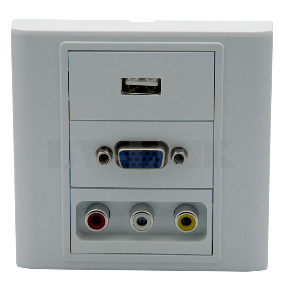 VGA, USB, 3RCA AV wall plate with back side screw ...
