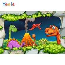 Yeele Cartoon Animals Children Birthday Party Photography Backdrop Dinosaur Jungle Photographic Background For Photo Studio