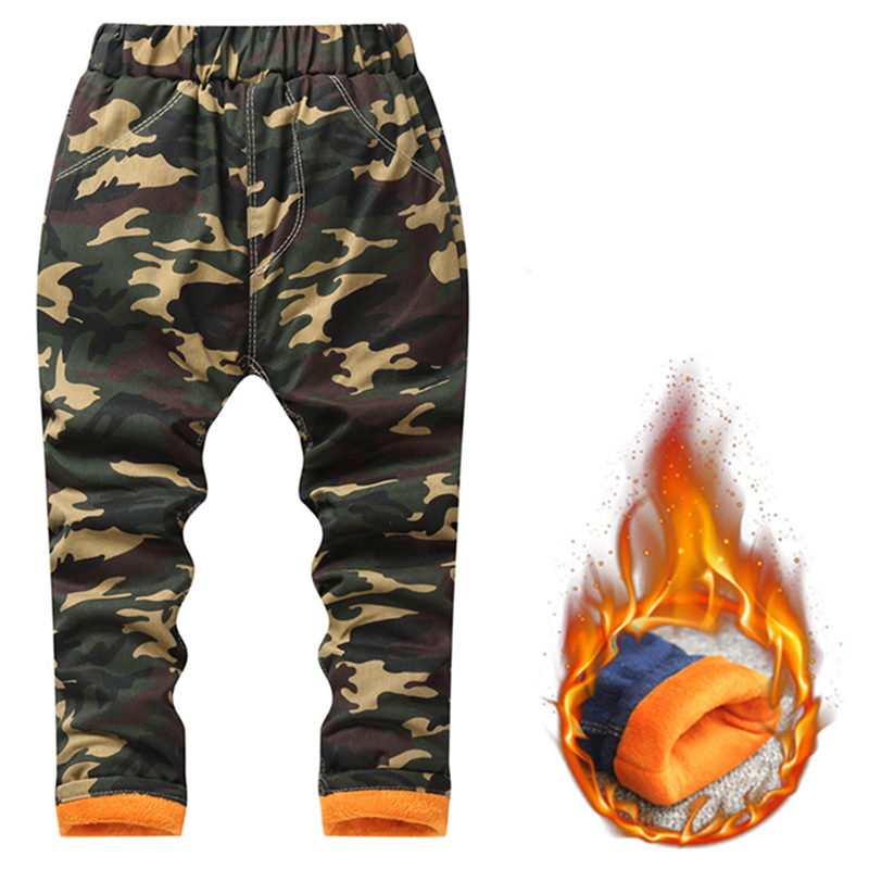 Boys Girls Jeans 2018 New Brand Winter Thicken Long Camouflage Pants Fleece Cotton Warm Trouser Fashion Clothes for 2-10 Years new brand kids jeans boys casual winter thicken long jeans pants baby boy jeans cotton warm denim trousers boys fashion clothes