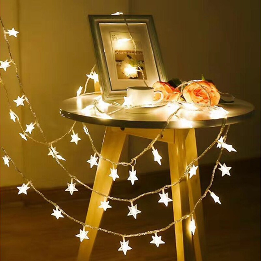 Holiday Lights 1.5M 3M 4.5M 6M LED Star String Lights AA Battery Waterproof Outdoor Christmas Wedding Decoration Twinkle Lights