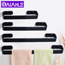 цена Single Towel Bar Black Towel Holder Aluminum Wall Mounted Washroom Towel Rack Hanging Holder Storage Shelf Bathroom Accessories онлайн в 2017 году
