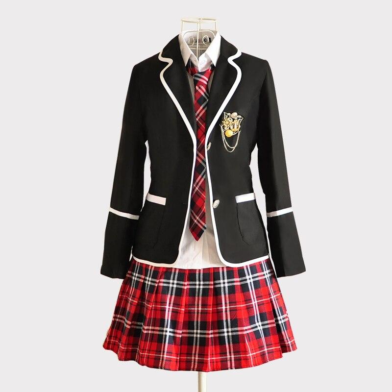 Nouveau japonais coréen filles uniformes scolaires collège Costume Blazer veste ensembles à manches longues Costume école étudiants manteau noir blanc