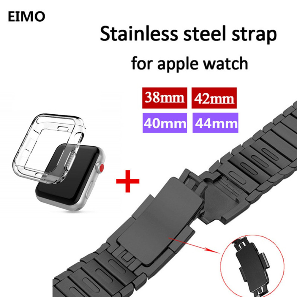 все цены на Case+Link Bracelet Strap for Apple Watch 4/3/2/1 44mm 40mm band Stainless Steel metal buckle watchband iwatch series 42mm 38mm