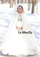 Индивидуальный заказ Потрясающие с капюшоном Свадебные накидки белый свадебный плащ искусственный мех зима теплый пол длина длинный широк