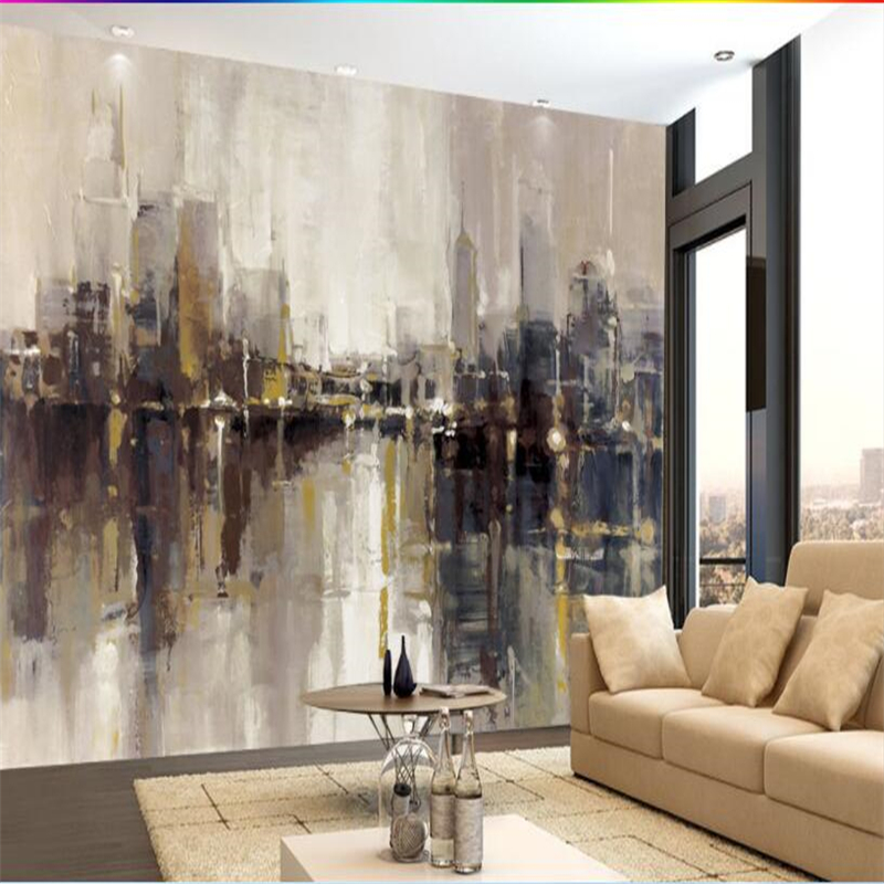 beibehangCustom Wallpaper Modern Abstract Art Graffiti Oil Painting City Building Skyscr ...