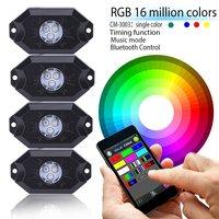 Newest Set Of 4pcs Set 8pcs Set RGB LED Rock Lights Wireless Bluetooth Music Flashing Multi