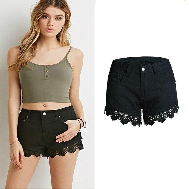 más fotos c8f9c f3b25 € 12.02 5% de DESCUENTO Pantalones cortos de verano negros de encaje para  Mujer pantalones vaqueros cortos de alta calidad Mujer Europa moda Sexy ...