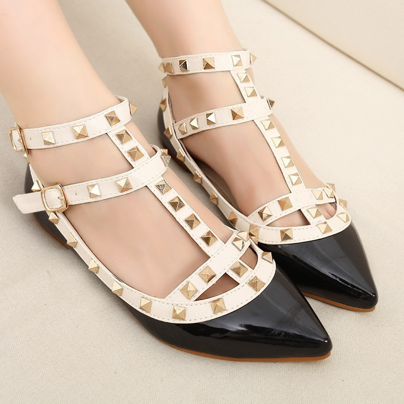 New-rivet-pointed-toe-women-color-block-patent-leather-gladiator-flats-sexy-stud-women-ballet-flat (2)