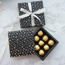 13.1*13.1*3.5 cm siyah beyaz nokta tema 10 seti Çikolata kağit kutu sevgililer Noel Doğum Günü Hediyeleri Ambalaj Depolama kutuları