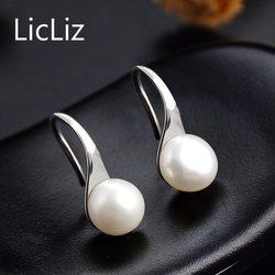 LicLiz 2019 925 пробы серебряные серьги-капли с натуральным пресноводным жемчугом для женщин, висячие серьги с крючком, белый, розовый, фиолетовый ...