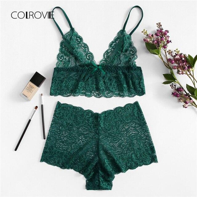 2bcb7ccb1 COLROVIE Espinhel Verde Sexy Lace Floral Lingerie Set 2018 Outono Vermelho Mulheres  Sutiã E Conjuntos Breves
