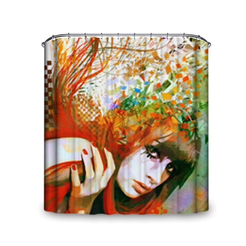 charme femme visage fleuri couleur tout neuf et de haute qualit rideau de douche artistique peinture style tanche et preuve d - Rideau De Douche Color