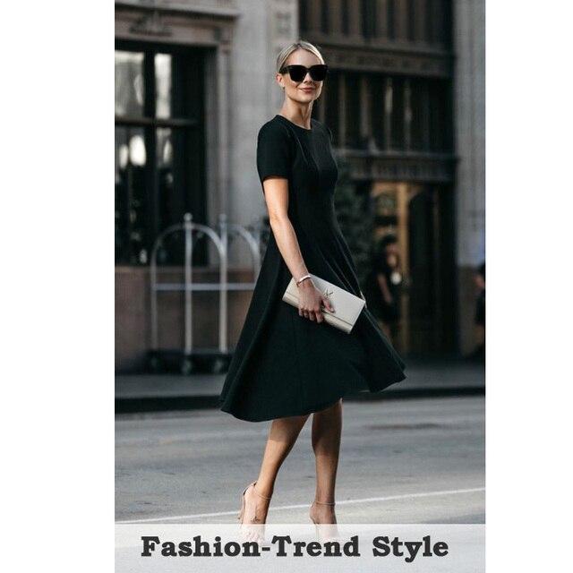 Nice-forever Vintage élégant col rond bref couleur Pure vestidos a-ligne Pinup affaires fête femmes Flare robe noire A110