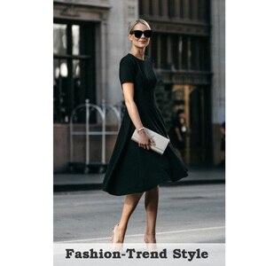 Image 5 - 니스 영원히 빈티지 우아한 라운드 넥 브리프 퓨어 컬러 vestidos 라인 핀업 비즈니스 파티 여성 플레어 블랙 드레스 A110