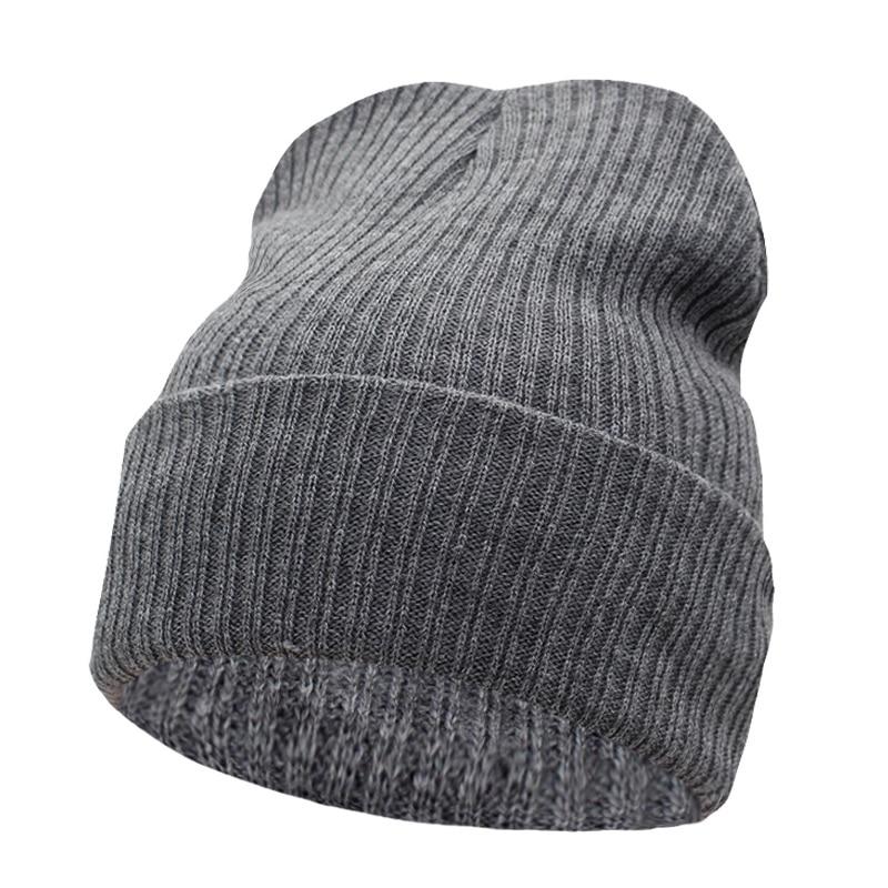 Beanies Winter Hat For Men Knitted Hat Women Winter Hats For Women Men Knit  Caps Blank Casual Wool Warm Flat Bonnet Beanie 2018-in Skullies   Beanies  from ... 5812f9ee88f7