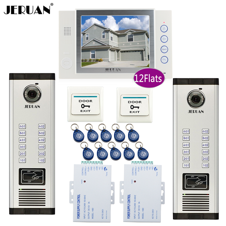 JERUAN 7`` LCD Video Door Phone Intercom System RFID Access Entry Security Kit For 2 Apartment Camera(12 button) to 12 monitor