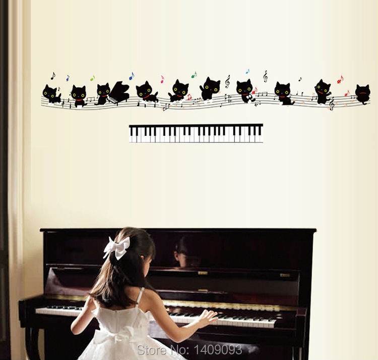 Wall Sticker Kids Animal Decoration Lovely Black Cats Music Piano ...