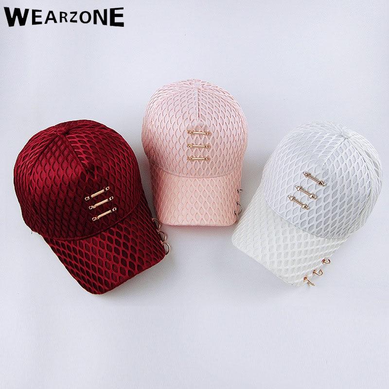 Prix pour 2017 Wearzone Plaid maille Snapback Chapeaux Femmes Casquettes de Baseball Anneau Anneau mens Casquettes bboy gorras os Solide couleur